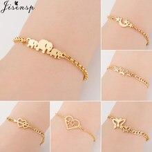 Jisensp – Bracelets à maillons en forme d'éléphant et de papillon, accessoires en acier inoxydable pour femmes