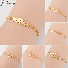 Jisensp Elephant Butterfly Bracelets Bangles Animal Chain Link Bracelet Female Stainless