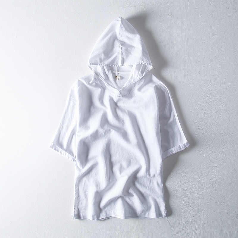男性のパーカーシャツカジュアル男性綿リネン半袖プルオーバーフード付きスポーツシャツ固体トップス男性夏ストリート TS-502
