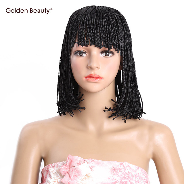 Short Bob Wig Synthetic Heat Resistant Black Brown Box Braid Wigs For Women 10