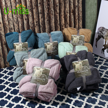 U-miss Warm Soft Fleece Blankets Double Layer Thick Plush Throw on Sofa Bed Plane Plaids Solid Bedspreads Home Textile 1PC