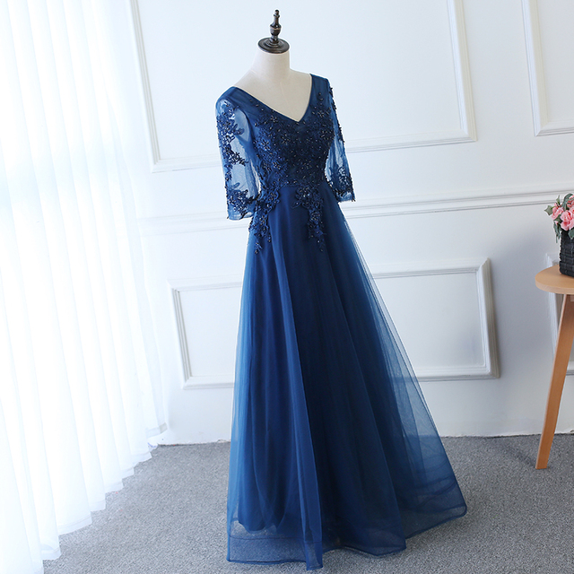 Hot Long Evening Dress Dark Blue Lace Embroidery 3/4 Sleeved Banquet Mother Of The Bride Dresses Robe De Soiree 4