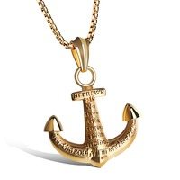 Ddormineering We Have This Anchor Necklace Gold Plated Black SilverPendant Necklaces For Man Men Neckless Figaro