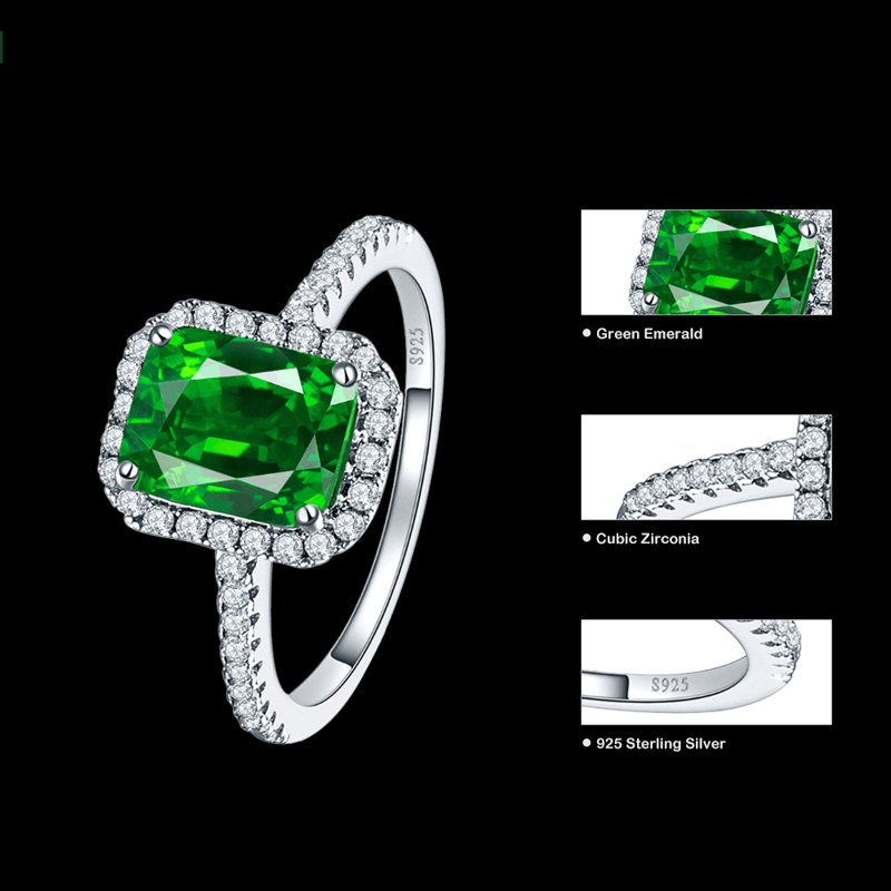 JQUEEN 3.6ct Emerald Engagement Wedding Ring Solid 925 Sterling Silver Ring Square Cut Amazing For Women S02lQpWN60