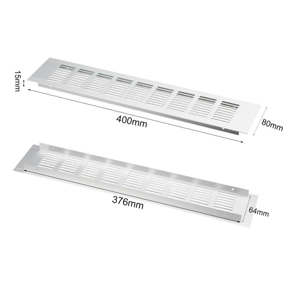 UXCELL Big Promotion High Quality 2Pack 400x80mm Aluminum Alloy Air Vent Ventilator Louvered Grille Cover Ventilation For Closet