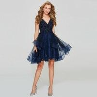 Tanpell платья для выпускного вечера с открытой спиной, синее кружевное мини бальное платье без рукавов с бисером для женщин, выпускное коротко