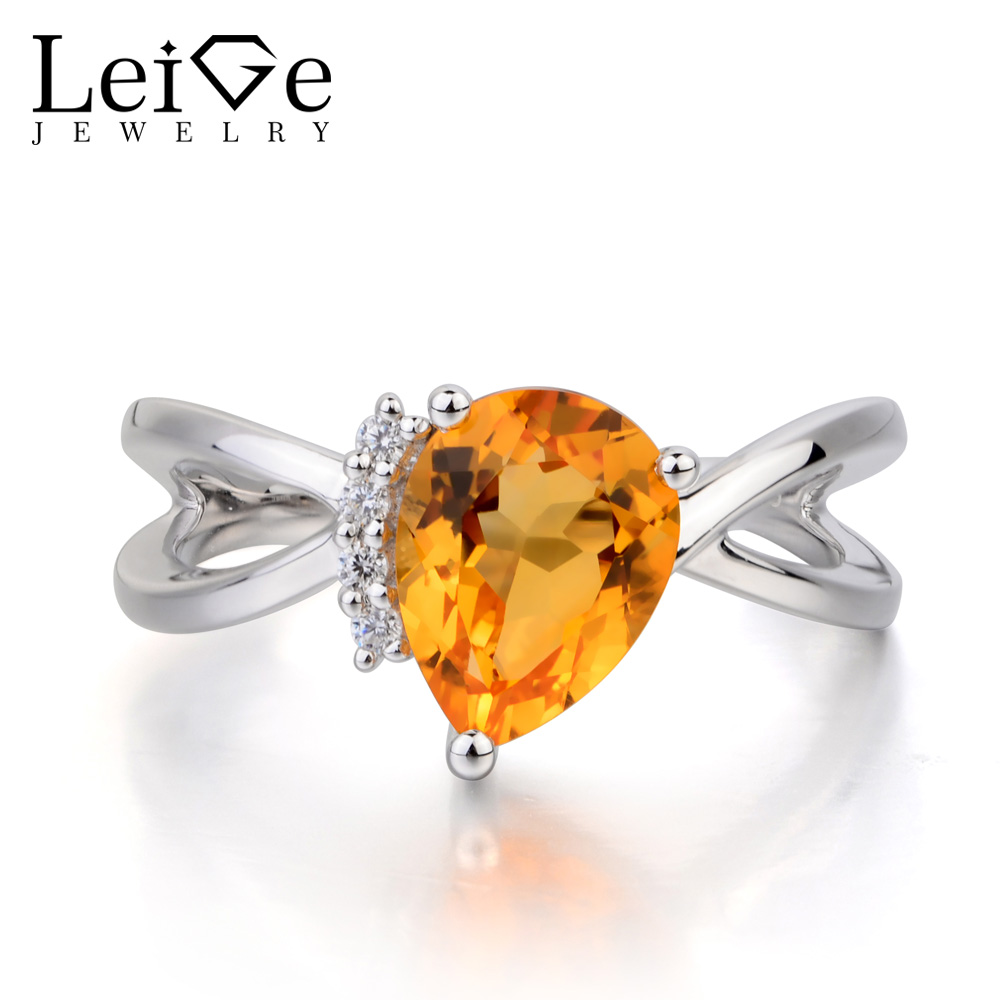 Leige Jewelry Engagement Ring Real Natural Citrine Ring Pear Cut Yellow Gemstone Solid 925 Sterling Silver Ring Gifts for HerLeige Jewelry Engagement Ring Real Natural Citrine Ring Pear Cut Yellow Gemstone Solid 925 Sterling Silver Ring Gifts for Her