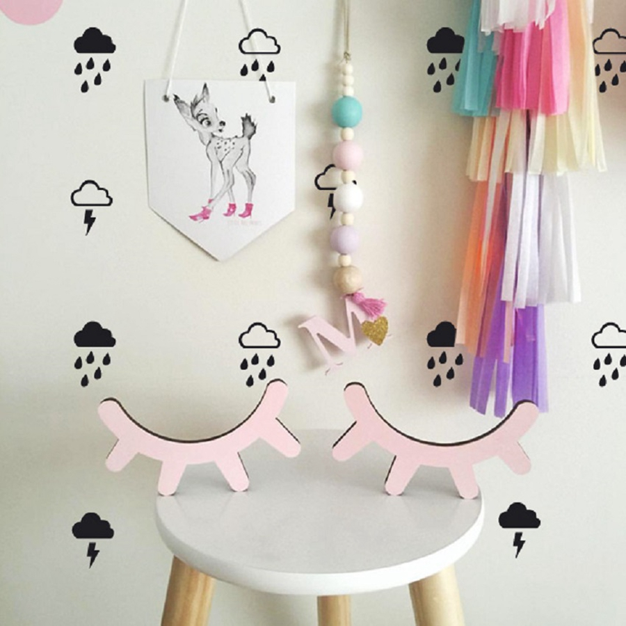 Cloud with rain wall decals lightning raindrop cloud wall cloud with rain wall decals lightning raindrop cloud wall stickers modern kids room cute wall decor in wall stickers from home garden on aliexpress amipublicfo Gallery