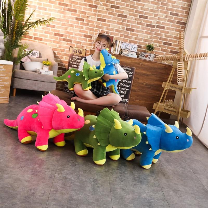 40-100cm Creative Soft Triceratops Plush Toy Cartoon Dinosaur Animal Doll Stuffed Toy Cute Kids Dinosaurs Pillows Birthday Gifts