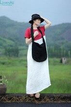 LinenAll women's summer red color long dress robe, short-sleeve loose 100% linen O-neck brief dress gown yijiu