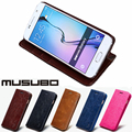 Musubo estojo de couro de luxo case para galaxy s6 edge plus casos tampa do suporte da aleta para samsung s7 edge s5 s4 nota 5 4 3 saco do telefone carteira