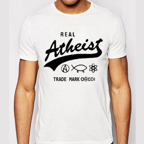 Atheist T Shirts Men Casual Short Sleeve T-Shirt O Neck Cotton Mens tshirt Letter Print Euro Size Man Tops Tees Free Shipping