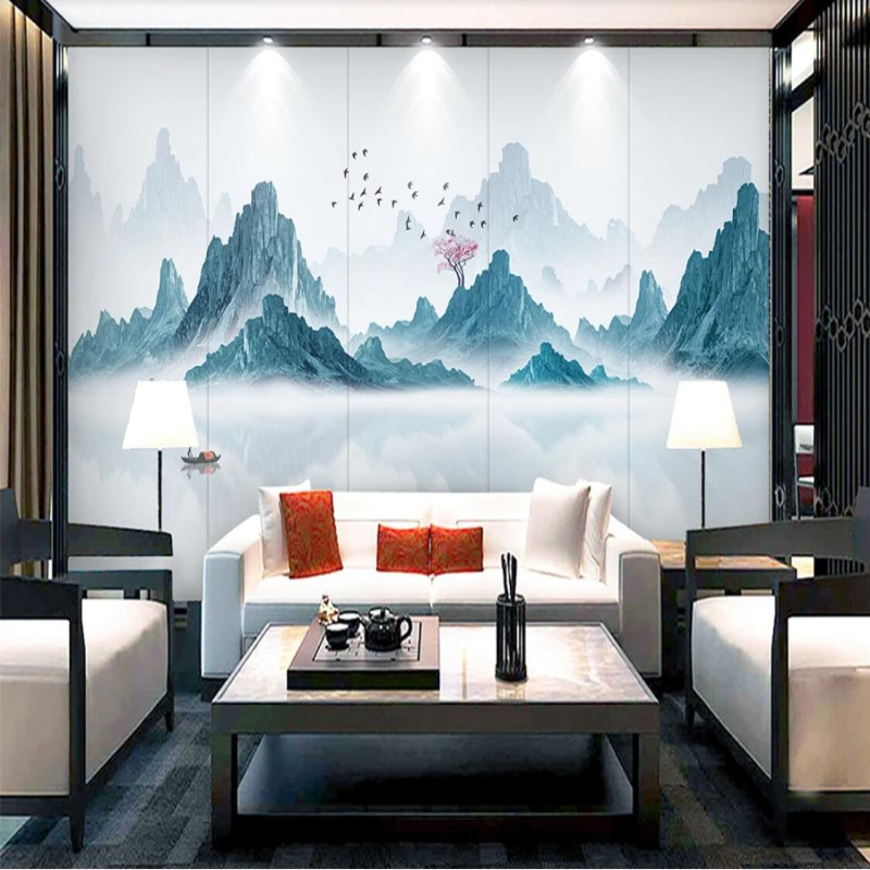 Abstract simple ink landscape water and wealth decoration painting