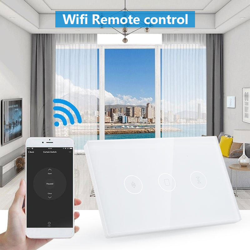 Voice Control Wifi Curtain Roller Switch Timing Phone APP Home Appliances 120 Type Automation Light Delay Wifi Curtain Switch