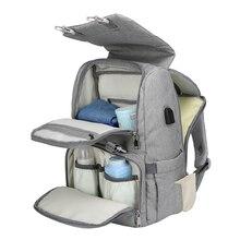 Bebek bezi çantası ile USB arayüzü büyük bebek bezi değiştirme çantası mumya analık seyahat sırt çantası anne hemşirelik çanta