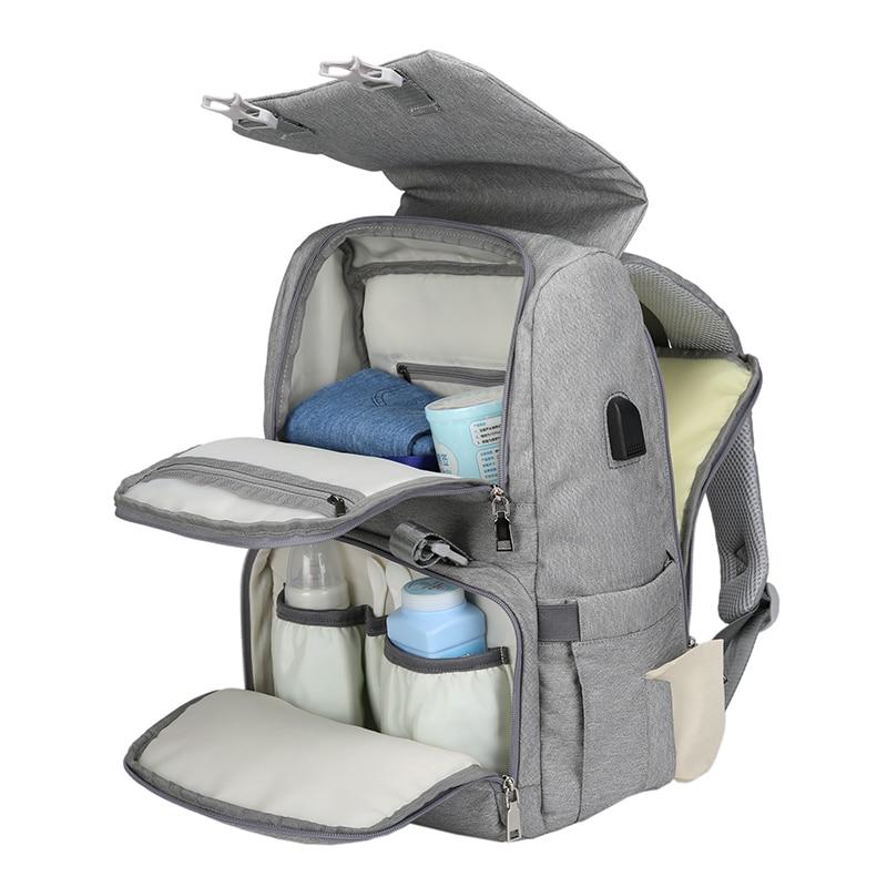 Bolsa de pañales con interfaz USB gran bebé pañal bolsa de momia maternidad mochila de viaje para mamá de bolsas