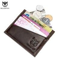 BULLCAPTAIN Vintage 100 Genuine Leather Card Case Thin Mini Card Wallet Business Slim Credit Holder Cards