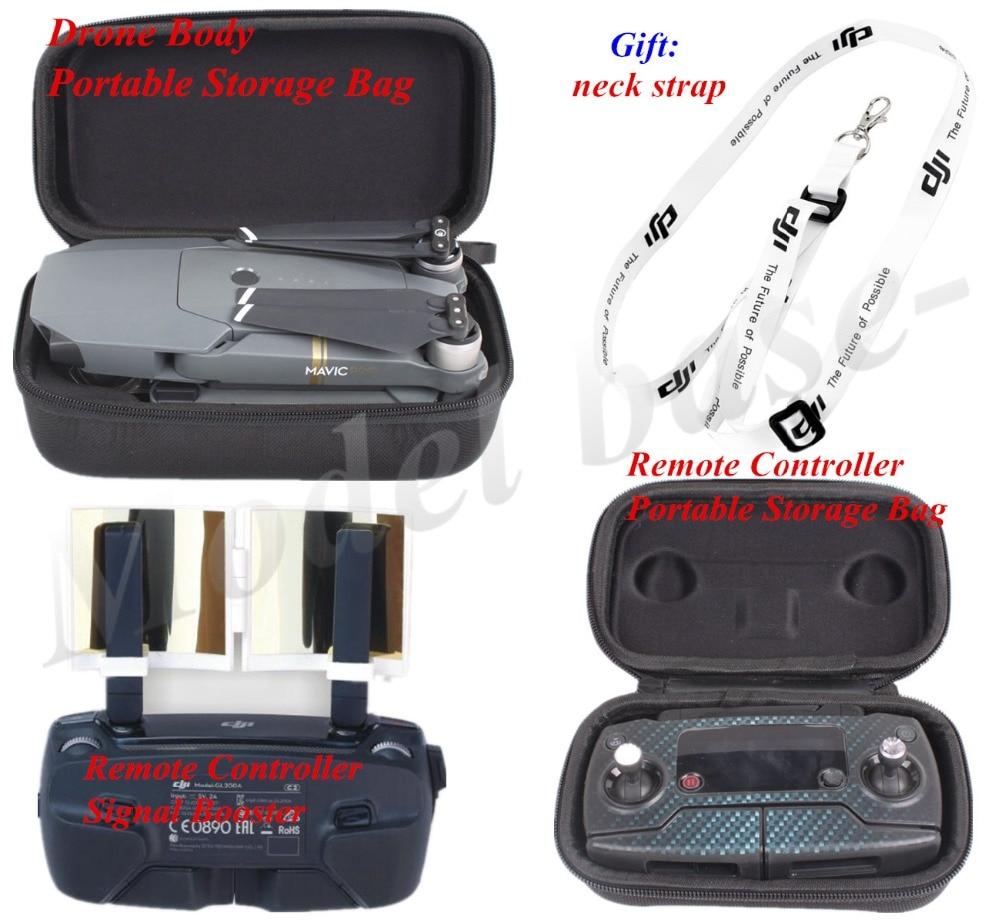 4in1 DJI Mavic Pro Remote Controller Drone Body Bag +Remote Controller  Signal Booster+gift neck strap f65cfc819747d