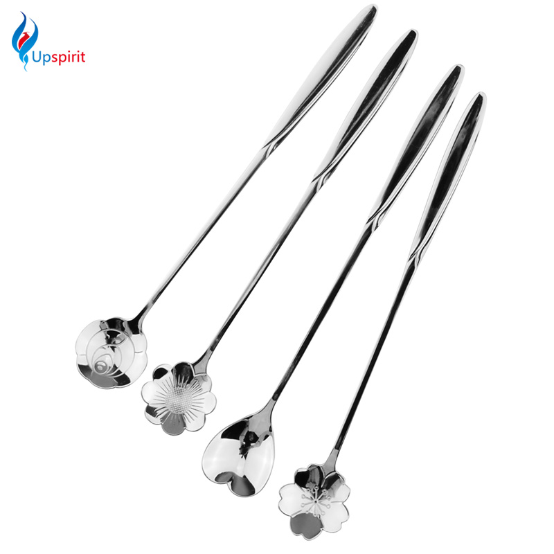 4pcs/set Long Handle Flowers Shaped Stirring Spoon Stainless Steel Flatware Ice Tea Dessert Spoon Dinnerware Kitchen Accessories