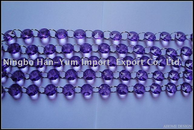 AC0080-H03  Purple Color Acrylic Crystal strands / Octagon strands / Wedding Decoration Chirstmas Decoration