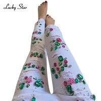 パールビーズホワイト破れたジーンズファッションレディーススキニージーンズデニム秋ビーズ女性ストレッチペンシルパンツa317