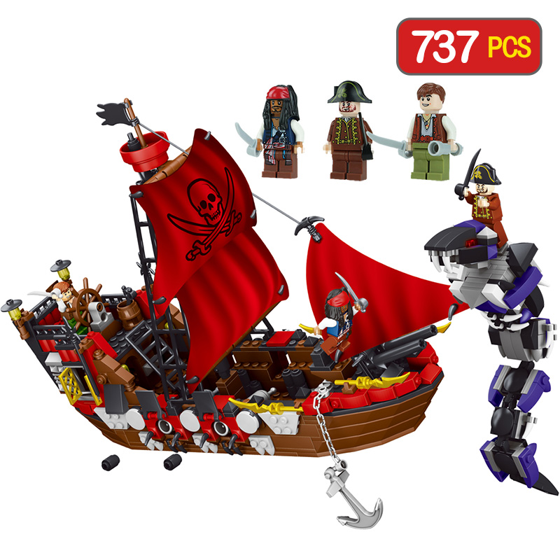 Red Pirate Ship Blocks Compatible LegoINGLY War Pirate King Character Action Diy Bricks Cannon Building Blocks Toys For Children big building blocks castle pirate arms armor war cannon model accessories bricks compatible with duplo set figure toy child gift