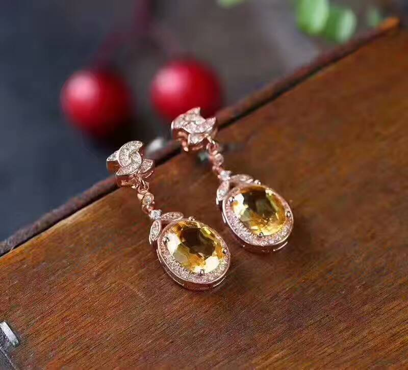 Mode naturel jaune cristal boucles d'oreilles goutte naturel citrine boucles d'oreilles noeud rond 925 argent femme mariage boucles d'oreilles bijoux