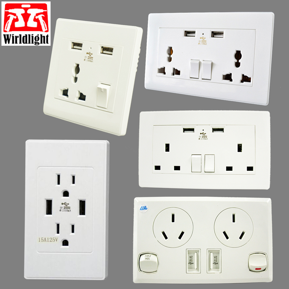 Dual Plug Electric Wall Socket Adapter With 2 USB Port Outlet Panel Fast Switch