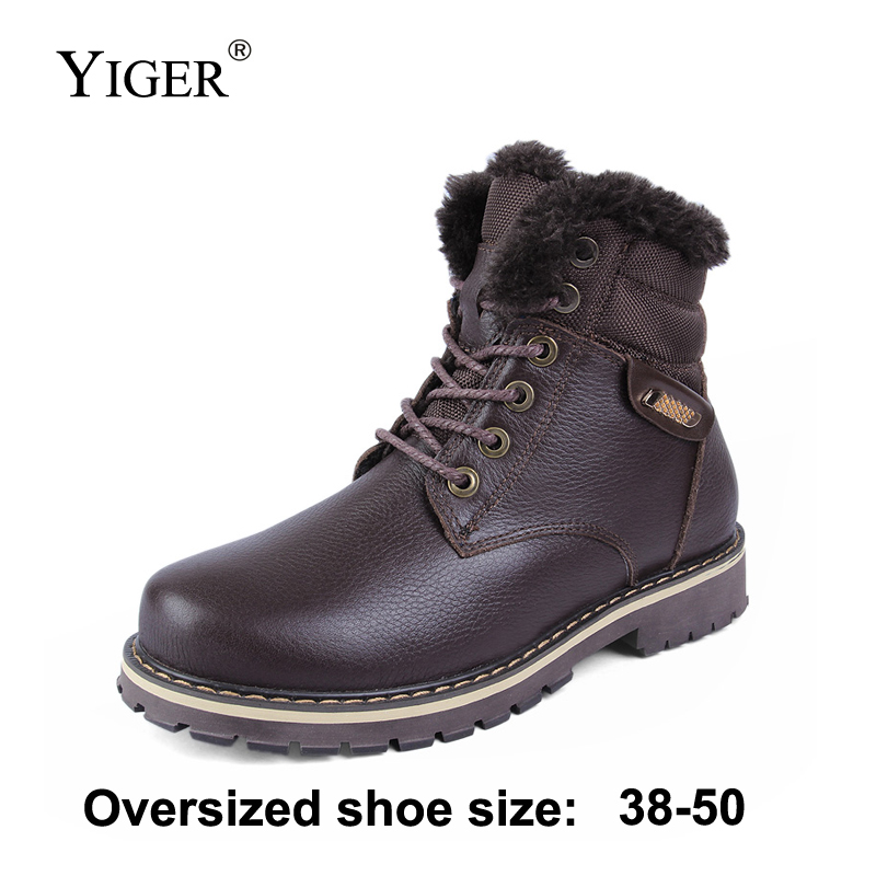 YIGER New Men Boots winter Martins bots Genuine Leather Large size 38 50 Plus velvet men
