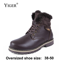 YIGER New Men Boots winter Martins bots Genuine Leather Large size 38-50 Plus velvet men snow boots Casual shoes lace-up  0217
