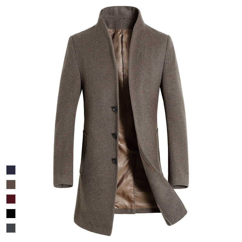 5f63a5497d Long design slim wool trench coats men fashion autumn winter new arrival single  breasted stand collar woolen coat outerwear-in Trench from Men's Clothing  on ...