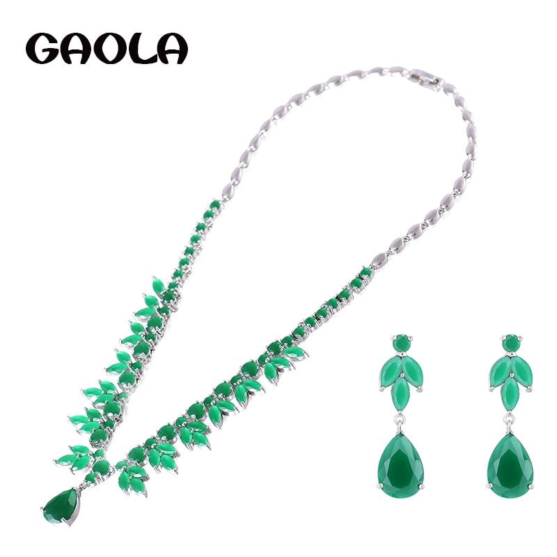 GAOLA Brand Crystal Zirconia Pendant Necklace Earrings Jewelry Set Wedding Dress Accessaries GLN0124