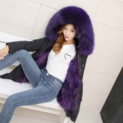Jacket Women Winter Parkas Long Big Fox Fur Collar Hooded Coats 2018 Ladies Fur Linen Thickened Warm Jackets Plus Size Coat LZ962 (4)