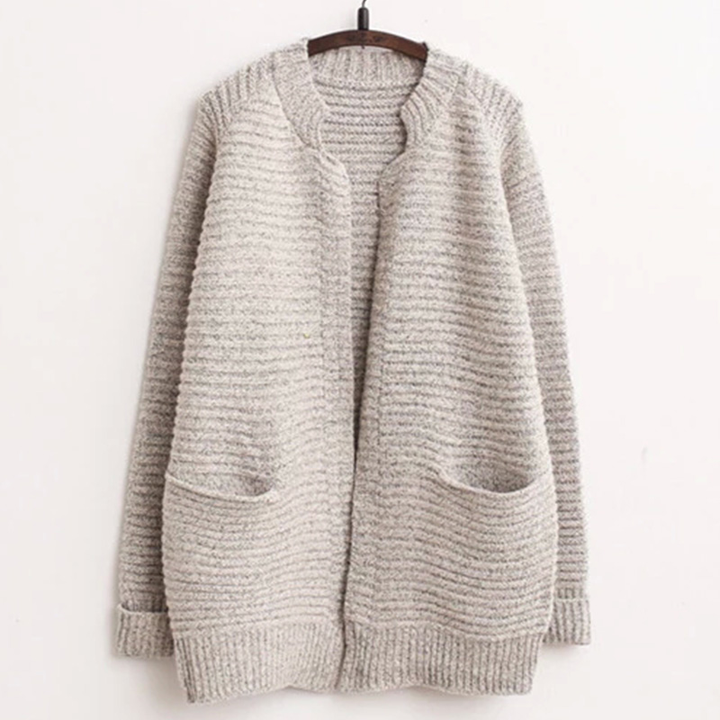 Winter Loose Cardigan Sweater Large Size Long Women Sweater Solid ...