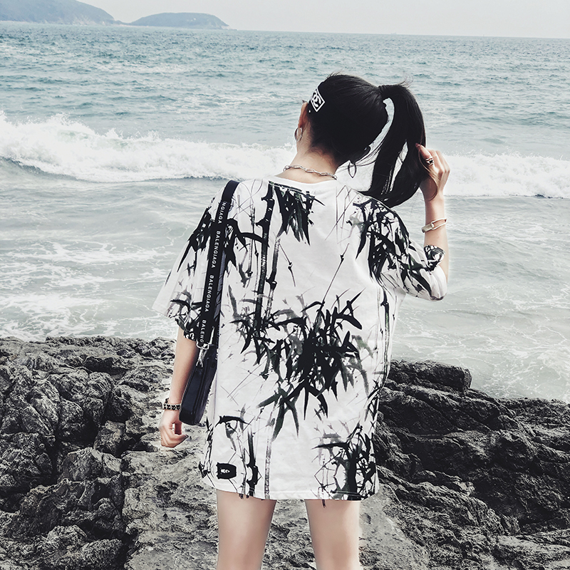 Dropshipping 2019 summer new bamboo splash ink Chinese painting short-sleeved shirt hip-hop oversized couple men women T-shirt 17