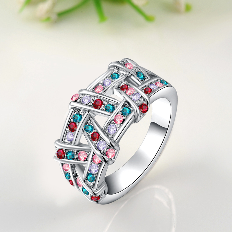 ROXI Wedding Ring Weaving Style Gold Color Fashion Jewelry Inlaid Zircon Party Engagement Rings for Women Gifts bagues femme