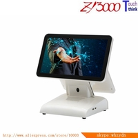 white 1037u 4G ram 64G SSD multi usb touch screen pos terminal all in one touch dual screen pos system