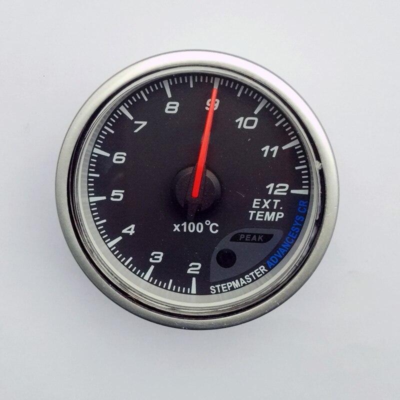 2.5 pulgadas 60mm car temperatura de escape gas gauge/EGT/EXT con sensor negro Cara rojo y blanco iluminación LED/coche/Auto gauge