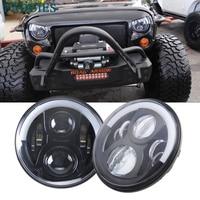 7 LED Headlight For Jeep Wrangler JK Headlamp With Halo Angel Eye Turn Signal Lights DRL