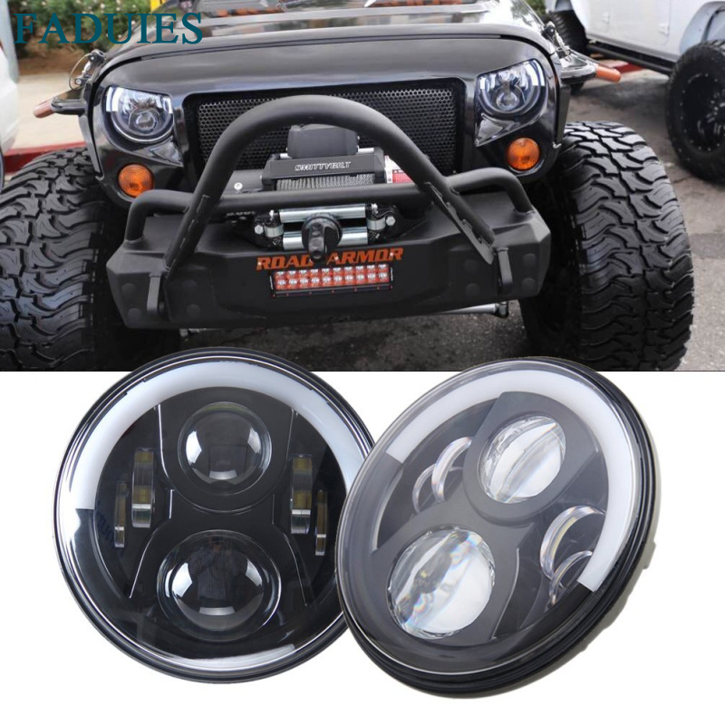 FADUIES 7 Round LED Headlight 50W High Low Beam For Jeep Wrangler JK Headlamp With Halo Angel Eye & Turn Signal Lights & DRL 1pcs 7 80w headlamp led headlight with drl for jeep wrangler jk tj fj harley off road lights high low beam new free shipping