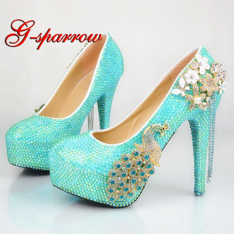 Baby Blue AB Crystal Color Wedding Shoes Gorgeous Rhinestone Bride Formal Dress Shoes Customized Phoenix Women High Heels sparkling ab crystal red wedding high heels shoes rhinestone fashion bride dress shoes matric graduate farewell ceremony shoes
