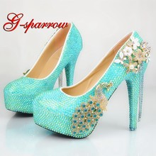 Baby Blue AB Crystal Color Wedding Shoes Gorgeous Rhinestone Bride Formal Dress  Shoes Customized Phoenix Women High Heels f4d8b18c967c
