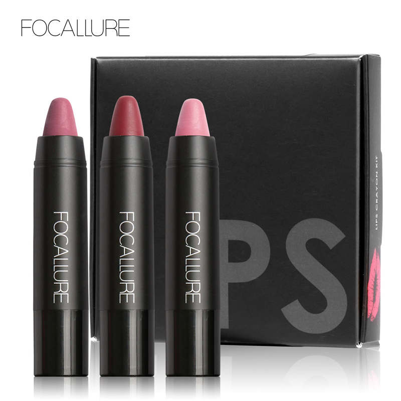 FOCALLURE 3Pcs Matte Lip Crayon High Quality with Long-lasting Liquid Lipstick Sexy Matte Lip Colors Lips Makeup Tools помада kiss new york professional ulti matte lip crayon 15 цвет 15 meat packing variant hex name d44a82