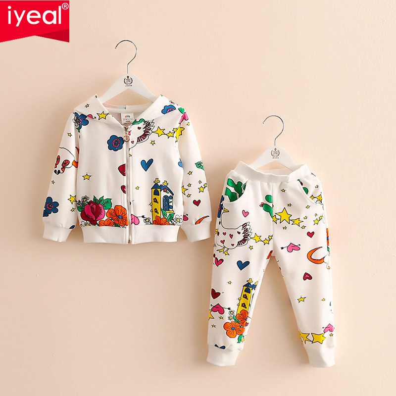 2PCS Kids Baby Girls Toddler Striped Jacket Top+Floral Pants Outfit Clothes Set Girls Clothing Set Spring Sport Suits 2-8 years 2016 new toddler kids baby girls clothes toddler kids t shirt tops long pants trousers 2pcs outfit clothing set