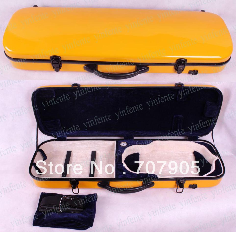Здесь можно купить   New 4/4 violin Water Proof Glass fiber Square Case Dropshipping Wholesale High quality Yellow Спорт и развлечения