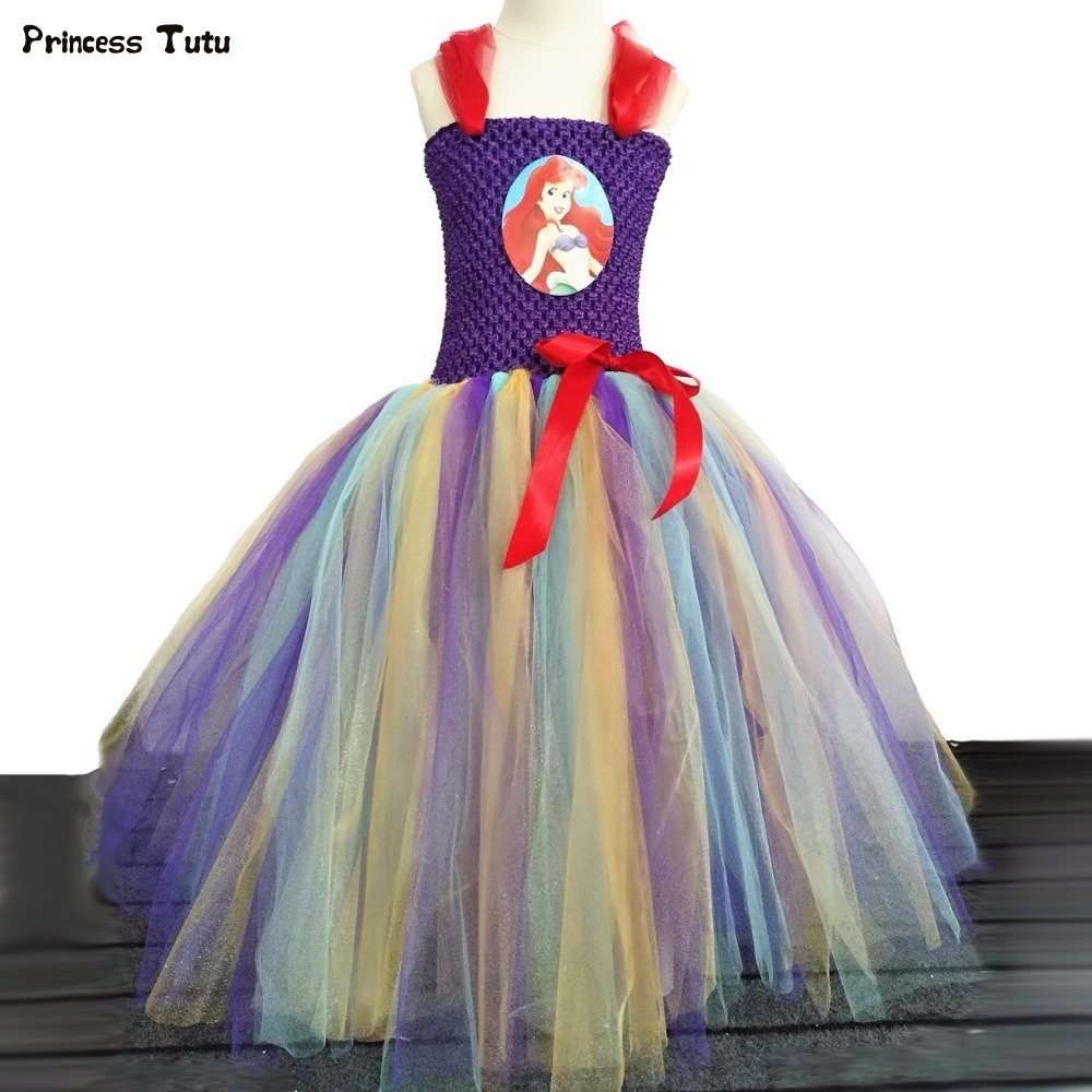 Mermai Girls Tutu Dress Princess Ariel Dress Cosplay Children Party Christmas Halloween Costume For Girl Kids Fancy Dress 1-14Y children girl tutu dress super hero girl halloween costume kids summer tutu dress party photography girl clothing
