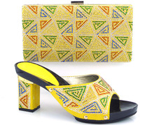 2017 High Quality African Designer Shoe And Bag Set To Match yellow Italian Shoes With Matching Bags Set Size
