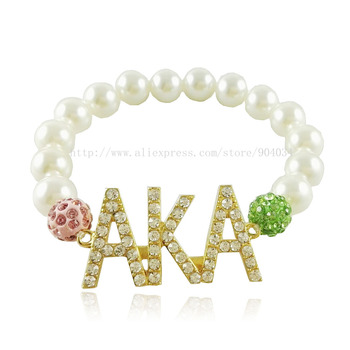 d3a1579dcc91 AKA letras Sorority Rosa verde perla pulsera - a.spelacasino.me