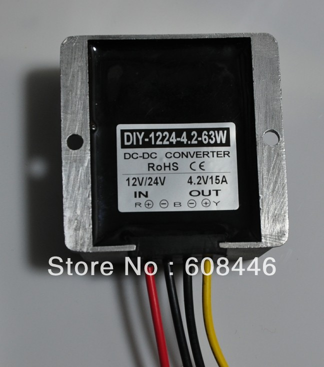 Converter DC12V/24V (7V-40V) convert to 4.2V 15A 63W output Waterproof DC DC buck for car RoSH dc dc converter dc12v 9 14v to dc15v 15a 225w