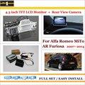 """Retrovisor do carro Da Câmera + 4.3 """"Monitor de Tela de LCD = 2 em 1 Sistema de Assistência de Estacionamento-Para Alfa Romeo MiTo Furiosa AR 2007 ~ 2015"""